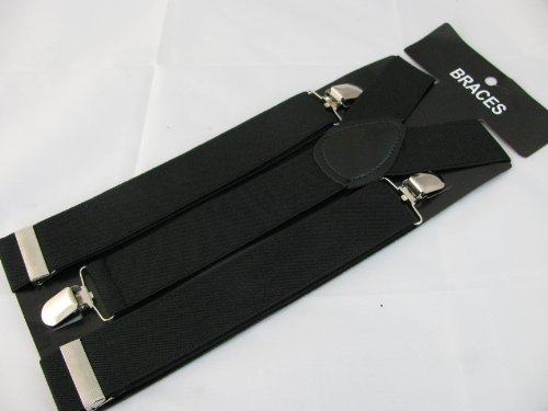Pair Black Fashion Braces [suspenders] 3.5cm wide, adjustable with metal adjusters and Snap fasteners .