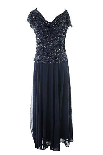 J Kara Navy Flutter-Sleeve Embellished Popover Gown 12