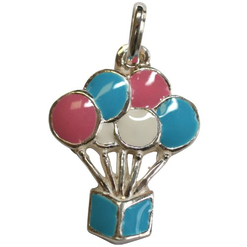 Sterling Silver Blue Pink White Balloons Pendant