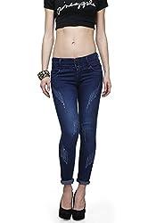 ahhaaaa Blue Ankle Length denim jeans for Women