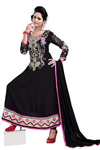 7 Colors Lifestyle Women Georgette Salwar Suit Dress Material (Aaldr1012Nzkt _Black _Free Size)