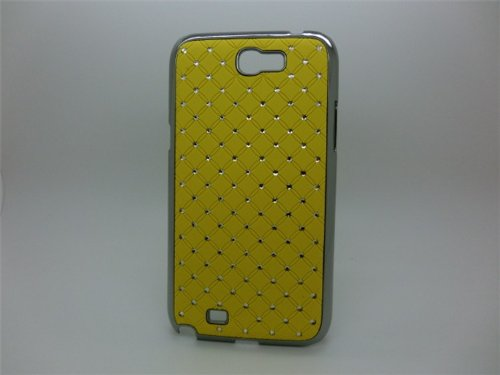 Maclogy 2014 Latest Fashion Design Luxury Dazzling Rhinestones Shiny Crystal Diamond Plating Protective Shell Trapped Difficult Cases Samsung Galaxy Note2 Note 2 Ii N7100 N7105 And Fashion Chain Crystal Ornaments Color Uv Radiation Gifts (Yellow)