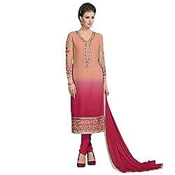 Bhelpuri Women Peach and Pink Georgette Dress Material