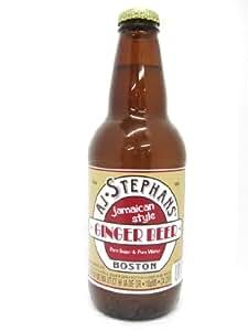 """AJ Stephans GINGER BEER """"New England's Best Tonic"""" BOSTON , 12-Ounce Glass Bottle (Pack of 12)"""