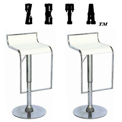 """Zeta Contemporary Adjustable Synthetic """"Leather"""" Bar Stool (Set Of 2) - White front-975122"""