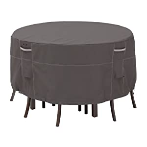 Classic Accessories 55-188-025101-EC Ravenna Patio Small Table and Chair Cover, Taupe
