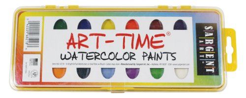 Sargent Art 66-8218 Art Time 16-Count Watercolor Pan Set with Brush