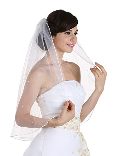 1T 1 Tier Rhinestones Crystal Sattin Rattail Edge Bridal Wedding Veil - White Color Elbow Length 30