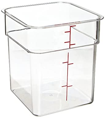 "Cambro 4SFSCW 4 qt Capacity, 7-1/4"" Length x 7-1/4"" Width x 7-3/8"" Height, CamSquare Camwear Clear Polycarbonate Food Storage Container (Cover Sold Separately)"