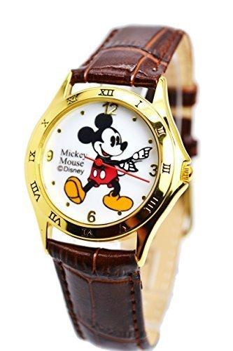 "Disney Unisex Watch Mickey Mouse ""Vintage"". Gold-Tone Analog Display. Dark Brown Band 9"". 0"