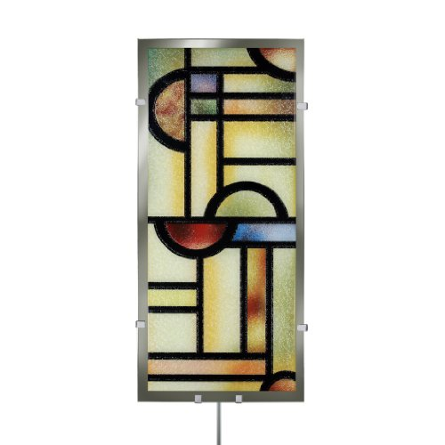 Head West Illuminada Mondrian Glass Wall Art With Mirrored Accents, 22-Inch By 10.25-Inch front-539277