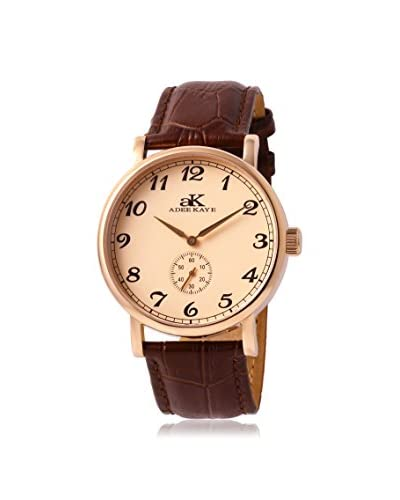 Adee Kaye Women's AK9061-MRG/RG Vintage-Mechanical Collection Brown Leather Watch