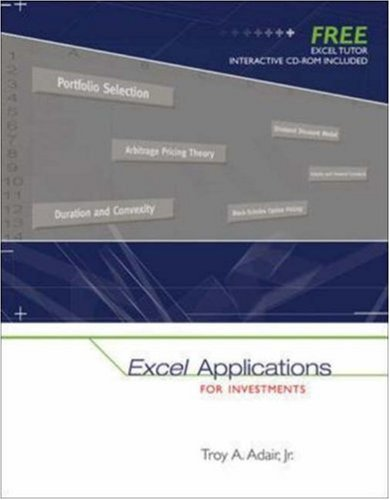 Excel Applications for Investments with Excel Tutor CD ROM