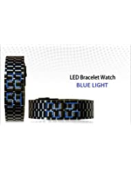SHVAS - Black Iron Samurai LED Bracelet Watch -- Black Band With Blue LED Lights (black)