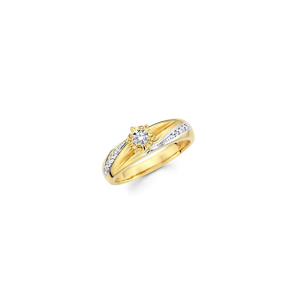14k Yellow Two Tone Gold Diamond Engagement Ring .19 ct (G H Color, I1 Clarity)