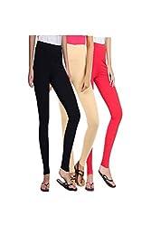 kannan Women's Cotton Blended Churidar Leggings (pack of 3)