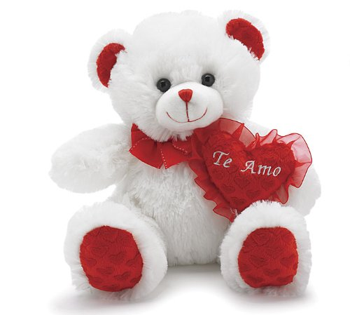 "Valentine's Day Plush ""Te Amo"" White Bear with Red Heart - 1"