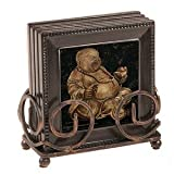41SRdA8d9DL. SL160  Laughing Buddha   4 Coasters with Bronze Scroll Coaster Holder