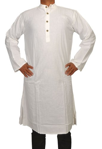 Handmade Casual Indian Khadi Mens Long Kurta Fabric For Winter & Summers Size-7XL
