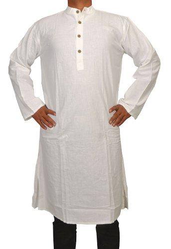 Handmade Casual Indian Khadi Mens Long Kurta Fabric For Winter & Summers Size-3XL