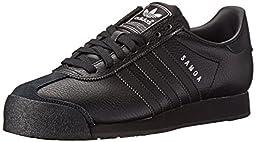 adidas Originals Men\'s Samoa Retro Sneaker,Black/Black/Metallic Silver,8.5 M US