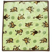 "Modpod ""Pop Monkey"" Plush Blanket - Lime, One Size front-65109"