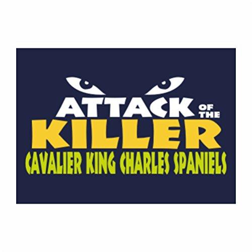 Teeburon ATTACK OF THE KILLER Cavalier King Charles Spaniel Sticker Pacchetto di 4