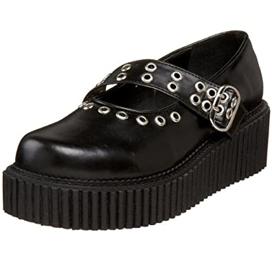 Demonia By Pleaser Women's Creeper-104 Mary Jane Flat,Black Polyurethane,6 M US