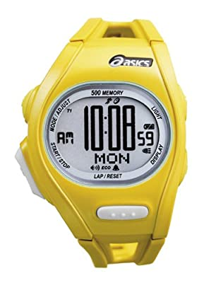 Asics Unisex Race CQAR0103 Yellow Polyurethane Quartz Watch with Digital Dial from Asics