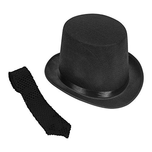 Gentleman s Felt 5 Inch Top Hat With Black Sequin NeckTie Funny Party Hats c4245309cc9