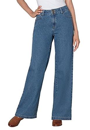 Women's Plus Size Jean, wide leg styling (MEDIUM STONEWASH,12 W)