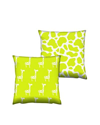 Gravel Set of 2 Giraffe Print Throw Pillows, Citron/White