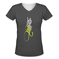 Snoogg Lets Talk Type Womens Casual V-Neck All Over Printed T Shirts Tees