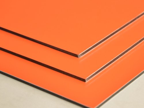 Aluminium Verbundplatte - 3mm - ORANGE - 0,2mm - 200mm x 200mm