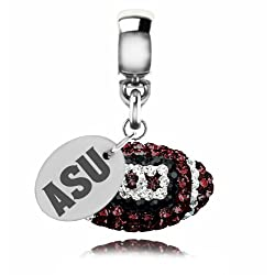 Arizona State Sun Devils Sterling Silver Crystal Football Dangle Charm Jewelry
