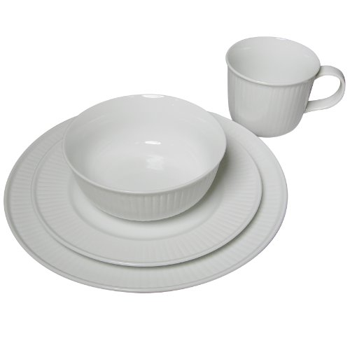 16 Piece Pure White Ribbed Porcelain Dinnerware Set