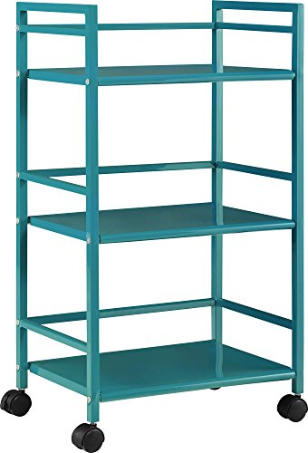 Altra Marshall 3 Shelf Metal Rolling Utility Cart, Teal (Metal Cart Kitchen compare prices)