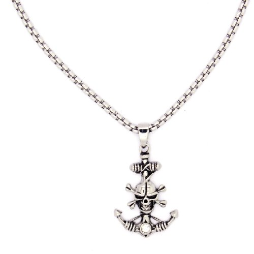 2 PIECE SET: Vintage 19-Inch Stainless Steel Rolo Chain Necklace With Rhinestone Inlaid Skull & Anchor Pendant (LIFETIME WARRANTY)
