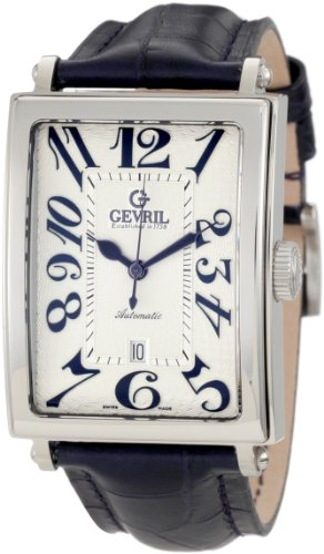 Gevril Men's 5007A Avenue of America Swiss Automatic Handcrafted Blue Leather Watch