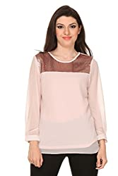 Oyshi Women's Embellished Top (LP1007L, Light Pink, Large)
