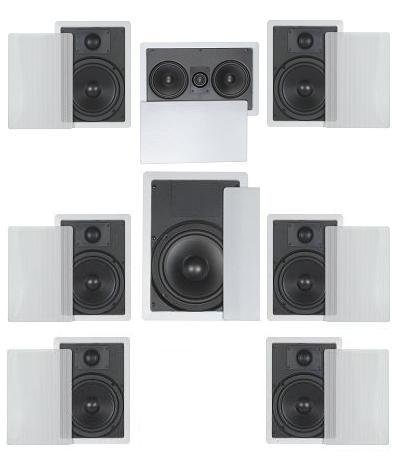 """7.1 Home Theater Flush Inwall Speaker Package- Six Inwall 6.5"""" 2-way Speakers, One Inwall Dual 5.25"""" 2-way Center Speaker, and One 8"""" Inwall Subwoofer"""