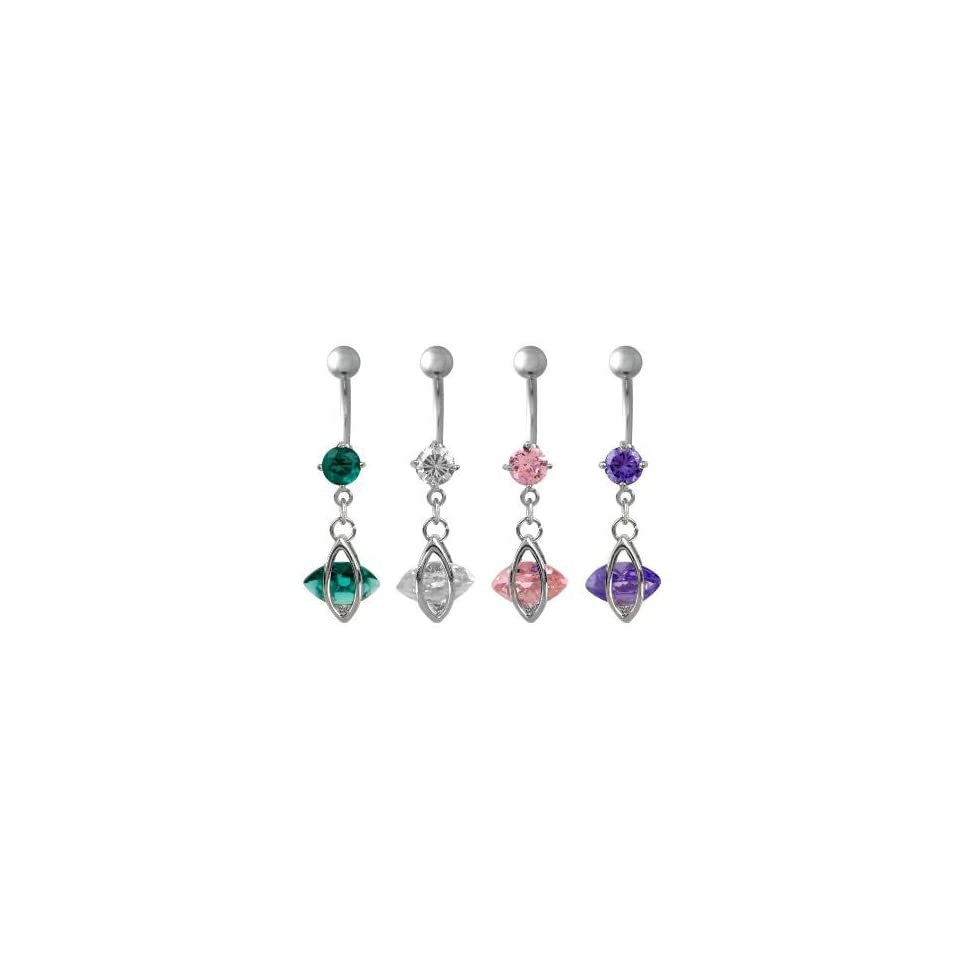 316L Surgical Steel Dangling Oval Belly Ring with Blue Zircon Crystals   14G   7/16 Bar Length   Sold individually