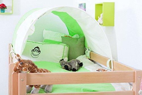 Lit pour enfant / Lit superposé Moritz L en hêtre massif naturel, avec étagère, sommier à lattes déroulable inclus - 90 x 200 cm