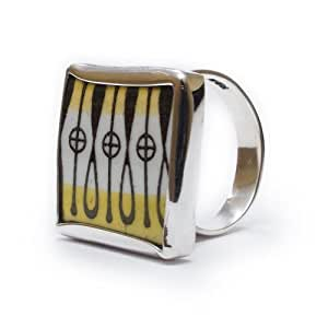 Vintage UK Citron Porcelain (Yellow Pattern) and 925 Sterling Silver Ring, Citrus Stripes Design, Square Ring, Adjustable Sizing