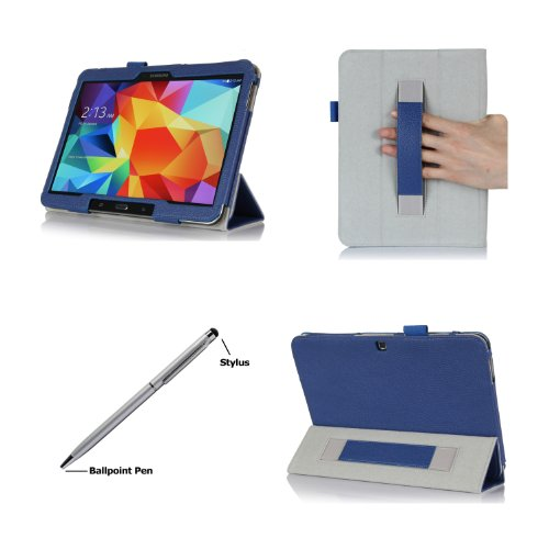 Procase Samsung Galaxy Tab 4 10.1 Case With Bonus Stylus Pen - Smart Cover Case With Stand For 10 Inch Galaxy Tab 4 Tablet (Sm-T530 / T531 / T535), With Auto Sleep/Wake Feature (Navy, Dark Blue)