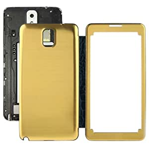 Crazy4Gadget High Quality Version Transparent Window Design Flip Leather Case + Metal Brushed Paste Skin Plastic Replacement Back Cover for Samsung Galaxy Note III / N9000(Yellow)