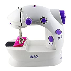 Sewing Machine,LSS-202,Mini 2-Speed Double Thread, Double Speed, Portable Sewing Machine With Light and Cutter,White/Purple