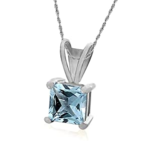 sterling silver 6mm square-cut blue topaz pendant