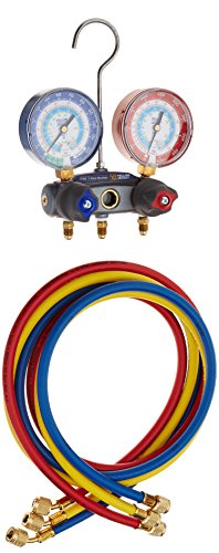 Yellow Jacket 49887 Titan 2-Valve Test and Charging Manifold degrees F, psi Scale, R-22/134A/404A Refrigerant, Red/Blue Gauges (Refrigerant Scale Yellow Jacket compare prices)