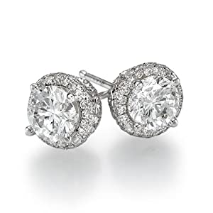 Diamond Stud Earrings 950 Platinum 2.40 ctw Certified Round Cut 2/3 ct Center Stones H Color I1 Clarity